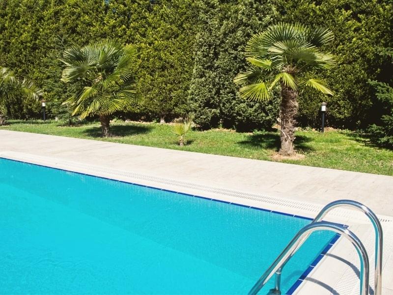 constuction d une piscine et d une terrasse dans un jardin