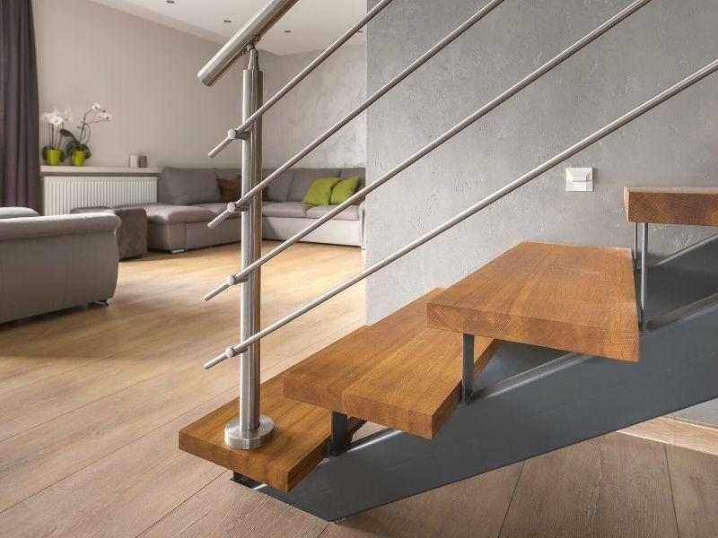 plan 3D d un escalier sur mesure noir et bois dans une maison par homy conseil