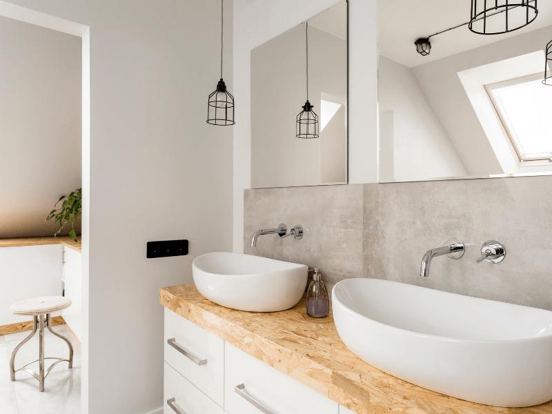 Renovation d une salle de bain avec double vasque par un courtier en travaux homy conseil
