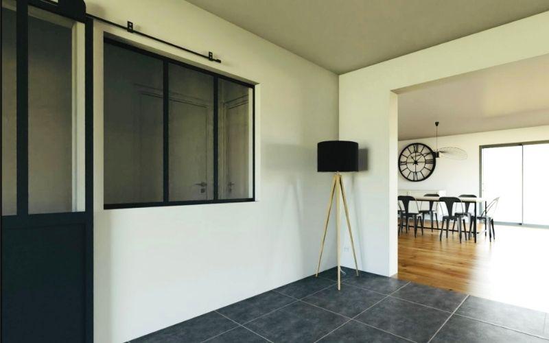 extension d une maison avec pose d une verriere porte a galendage carrelage noir et parquet